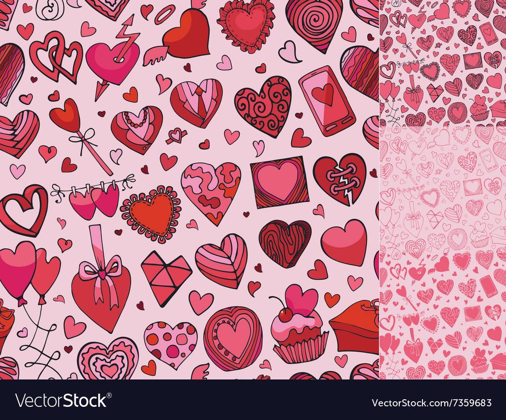 Hearts hand drawing doodleseamless patternPink