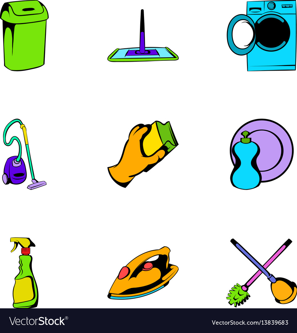 Mopping icons set cartoon style