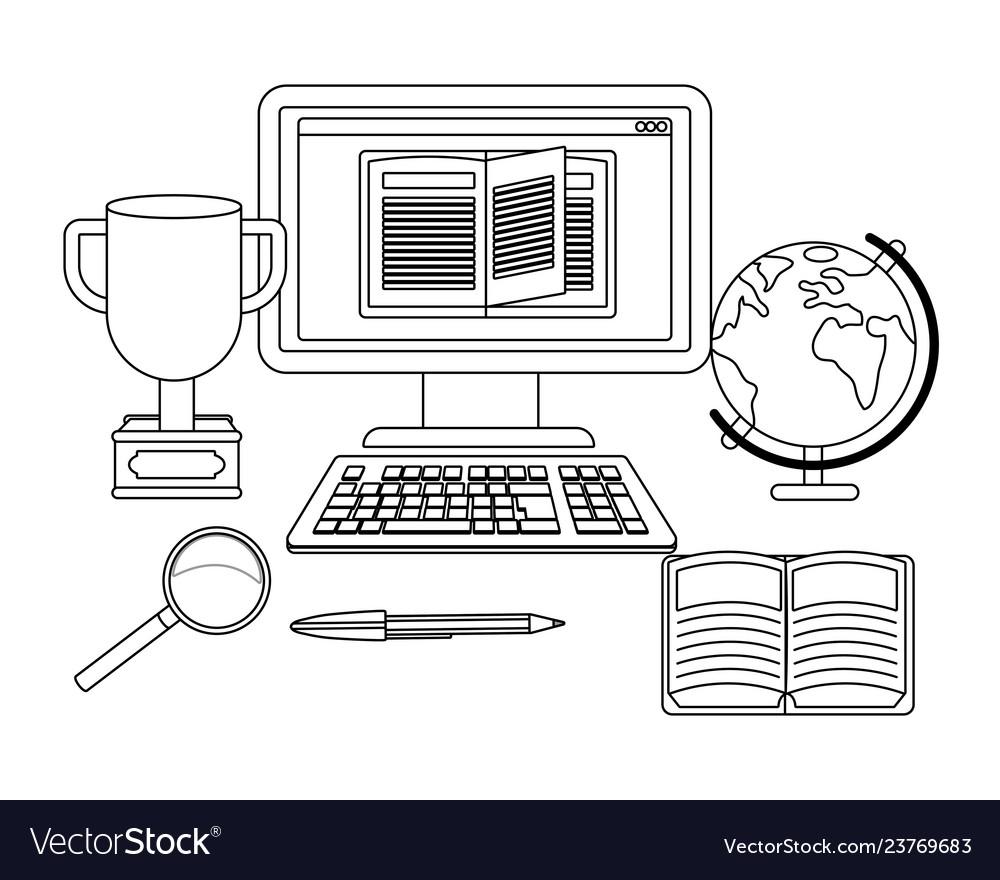 Online education computer cartoon