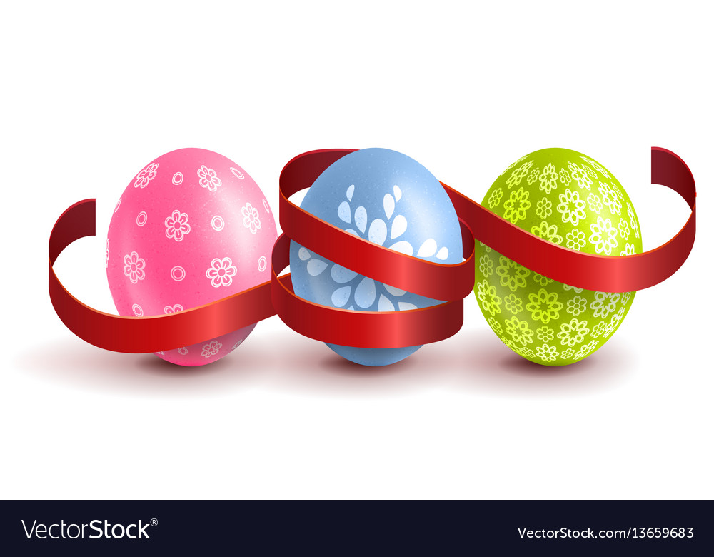 Realistic colourful easter eggs with a red ribbon