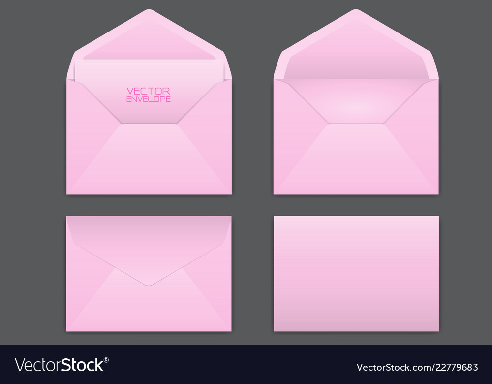 Realistic pink envelope set on grey