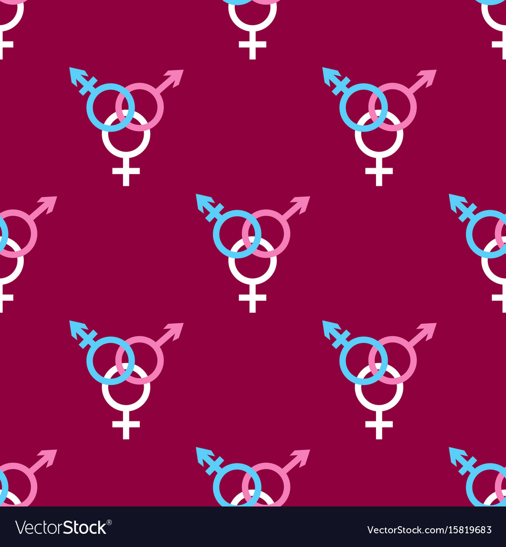 Seamless pattern with trans gender sign on dark
