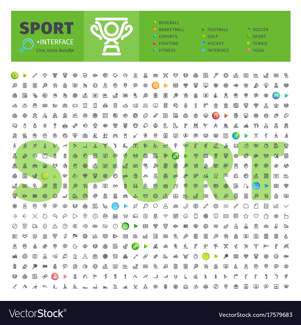Sport thematic collection of line icons