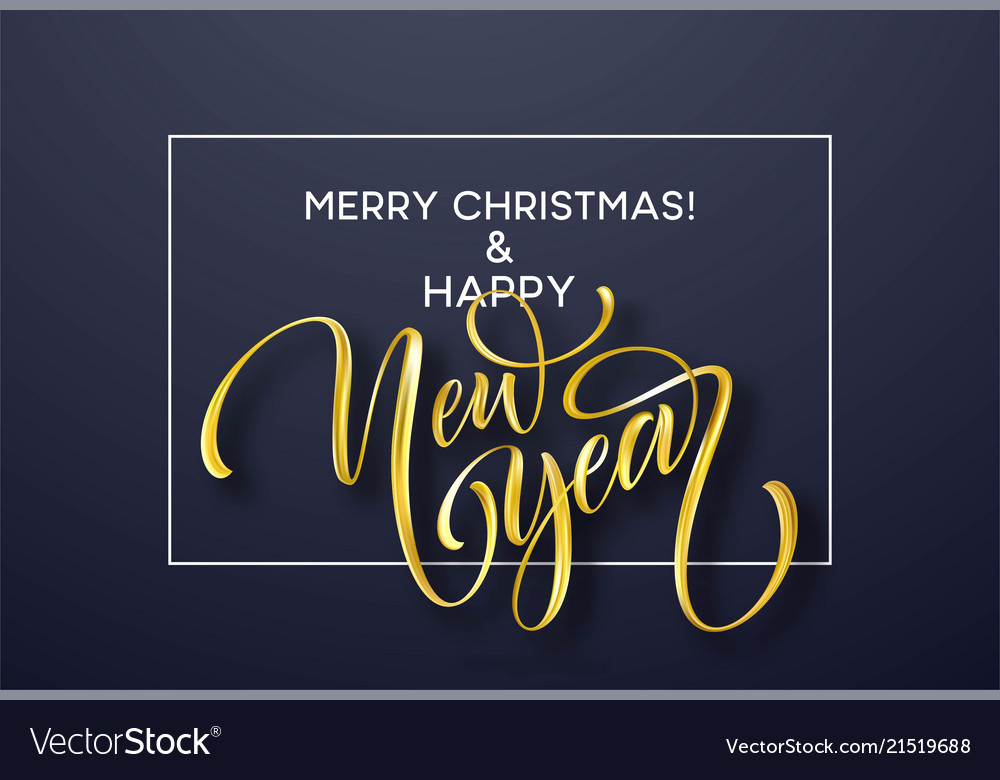 2019 new year golden hand written lettering with