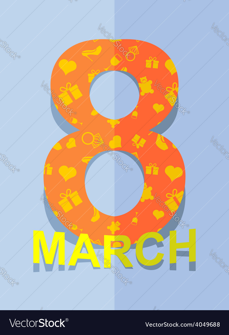 8 March International womens day 3D postcard vector image