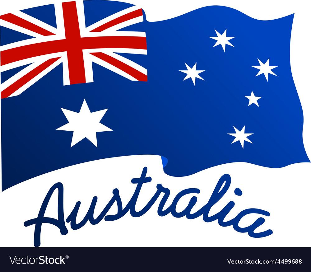 australian flag in wind with word australia vector image