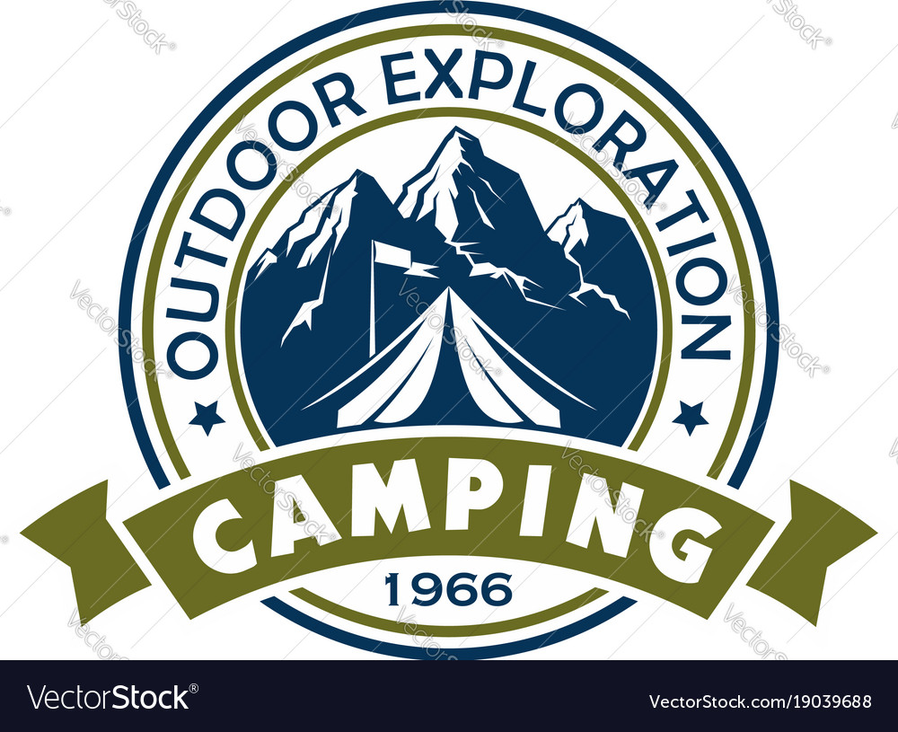 Camping holiday and outdoor recreation badge