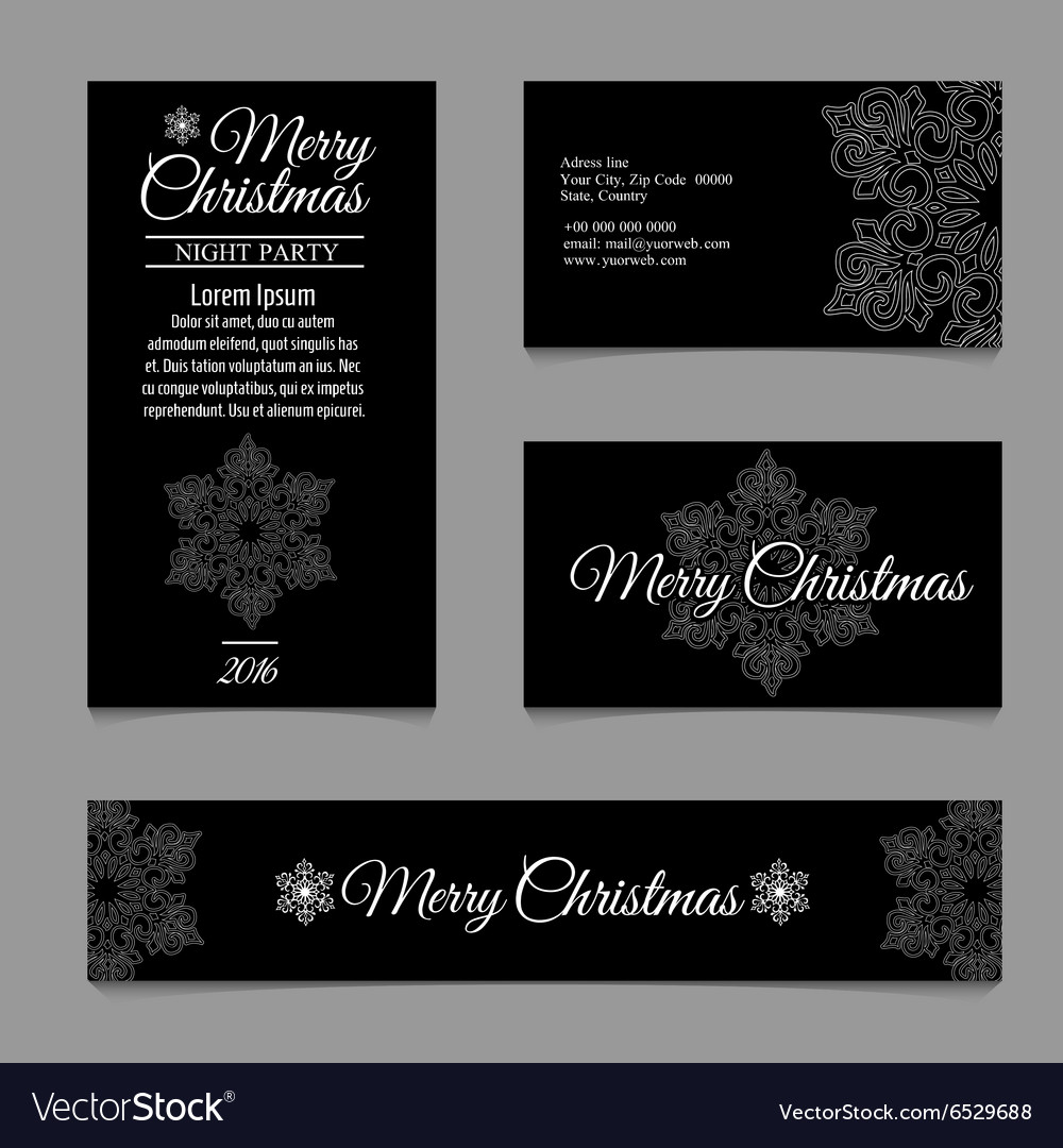 Cards with white snowflakes on a black background