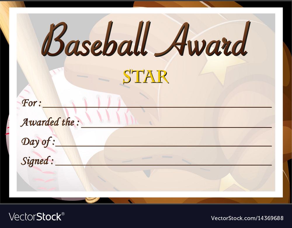 Certificate Template For Baseball Award Royalty Free Vector