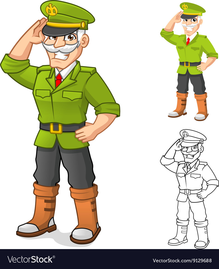 General Army Cartoon Character with Salute Hand
