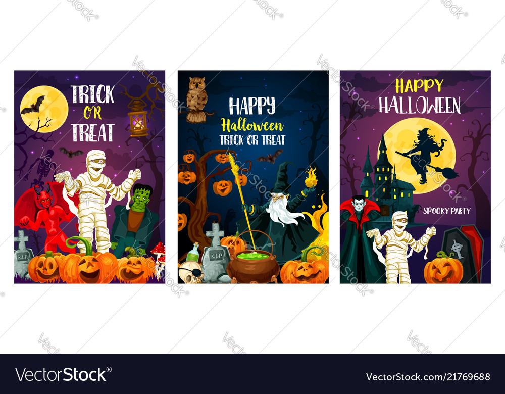 Halloween trcik or treat party posters