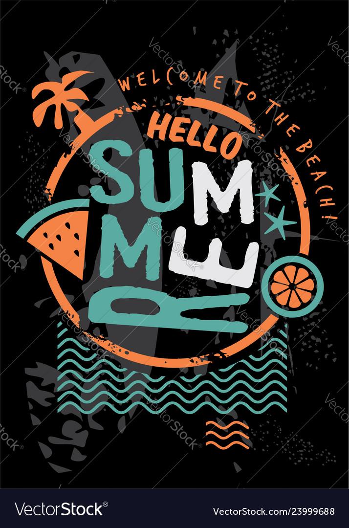 Hello summer retro t shirt design template