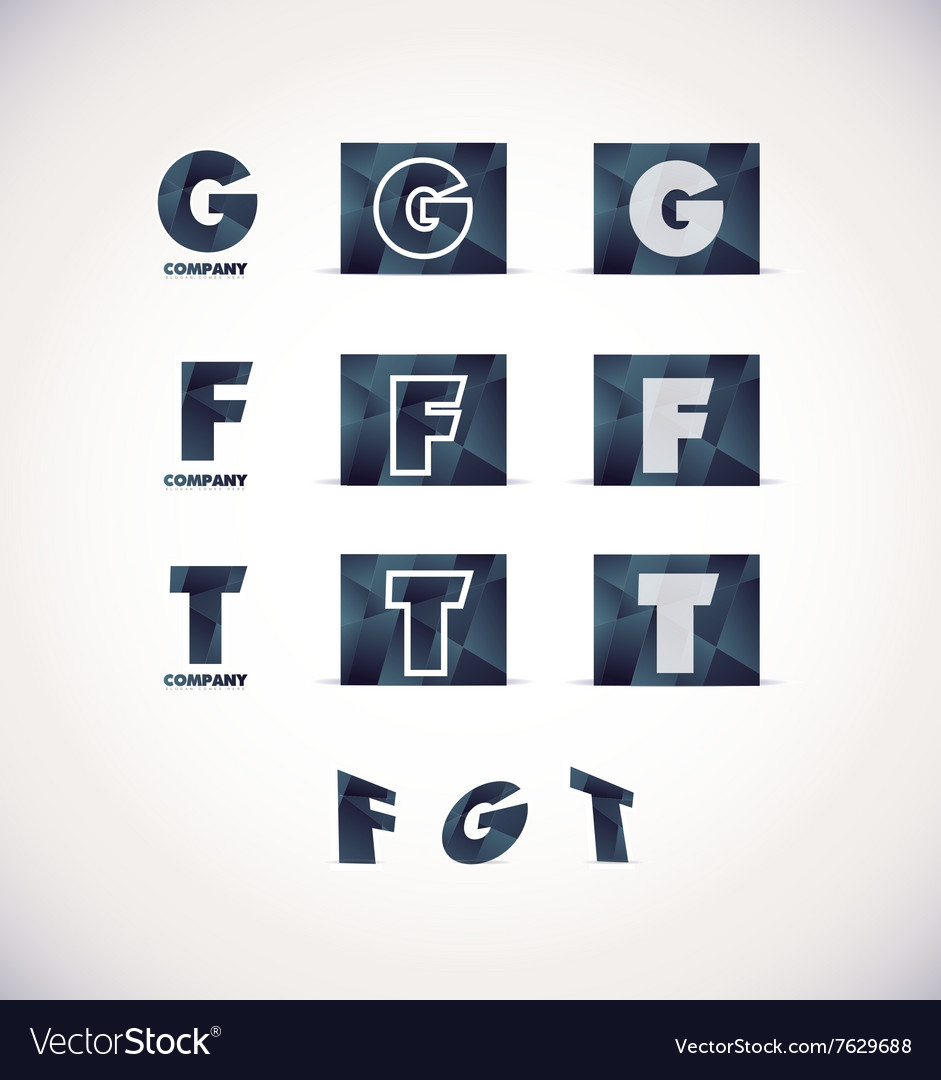 Letter g f t logo icon set vector image