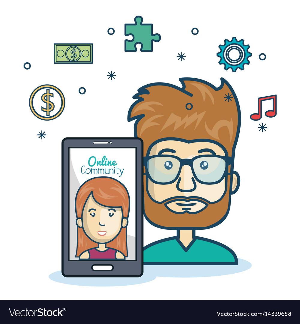 Man community online smartphone with app media