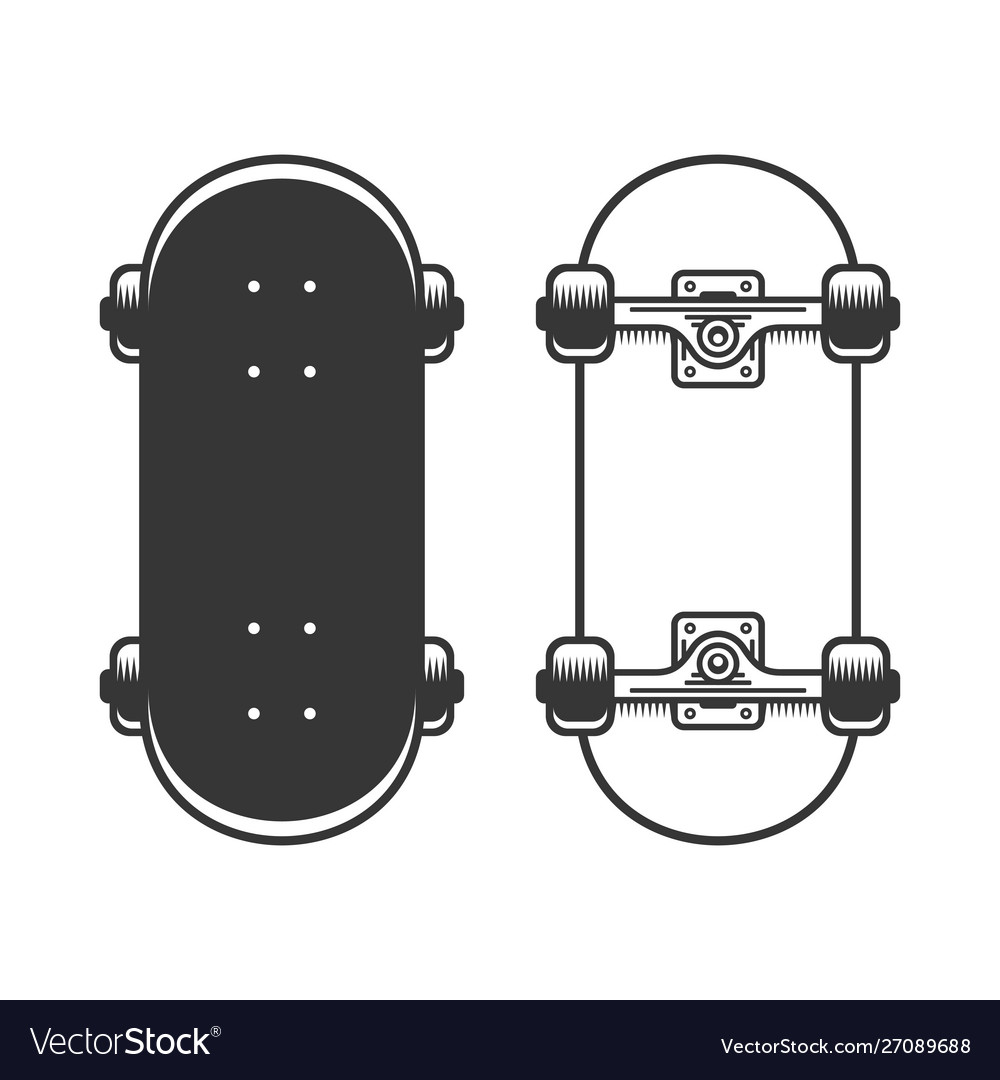 Old skateboards set on white background