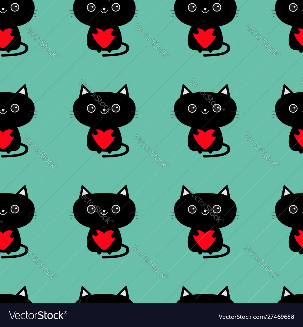 Pattern seamless cute black cat holding red heart
