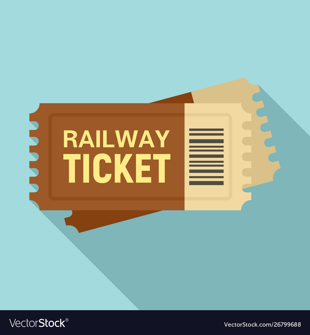 Railway ticket icon flat style