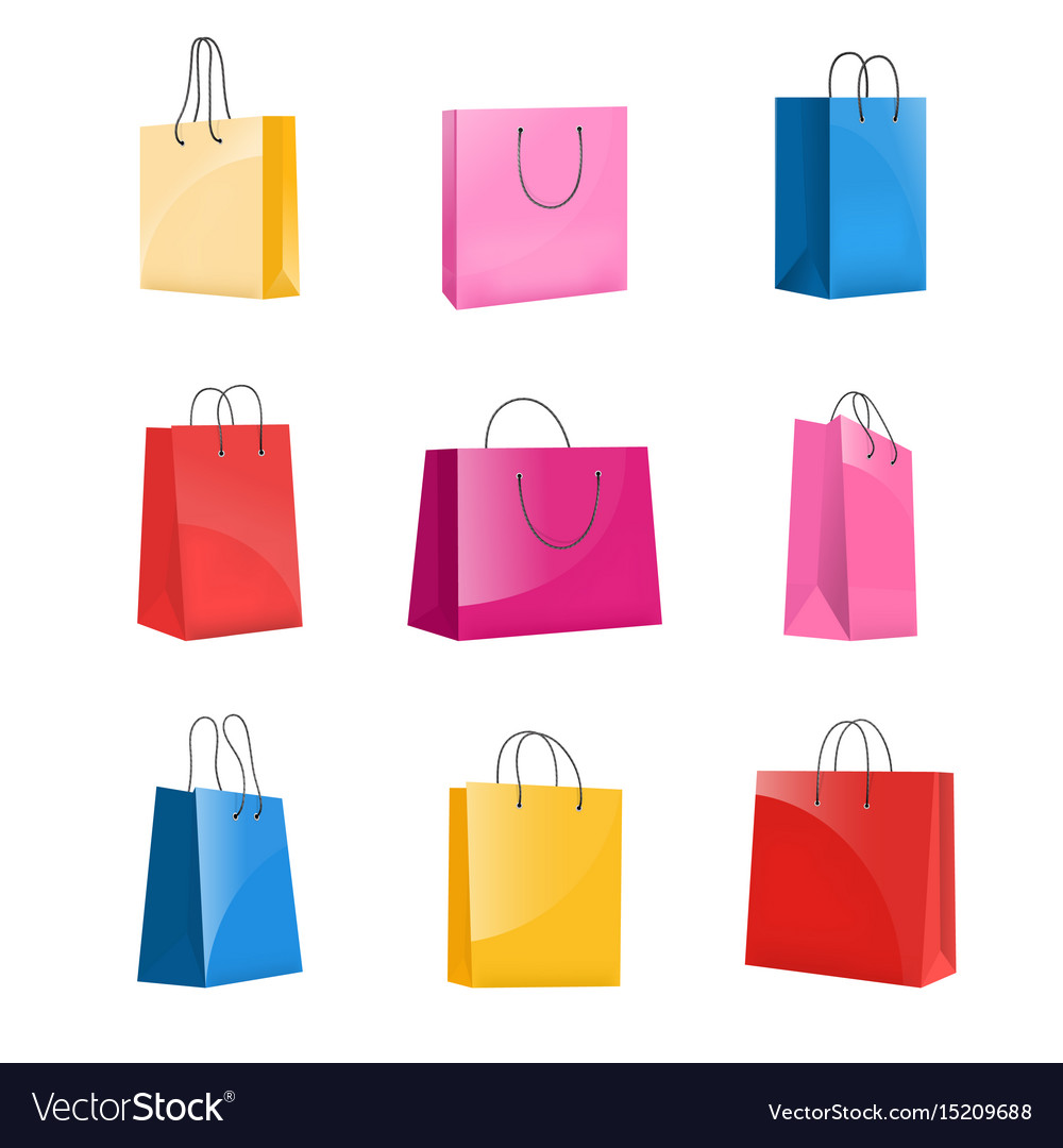 Realistic colorful paper shopping bag set