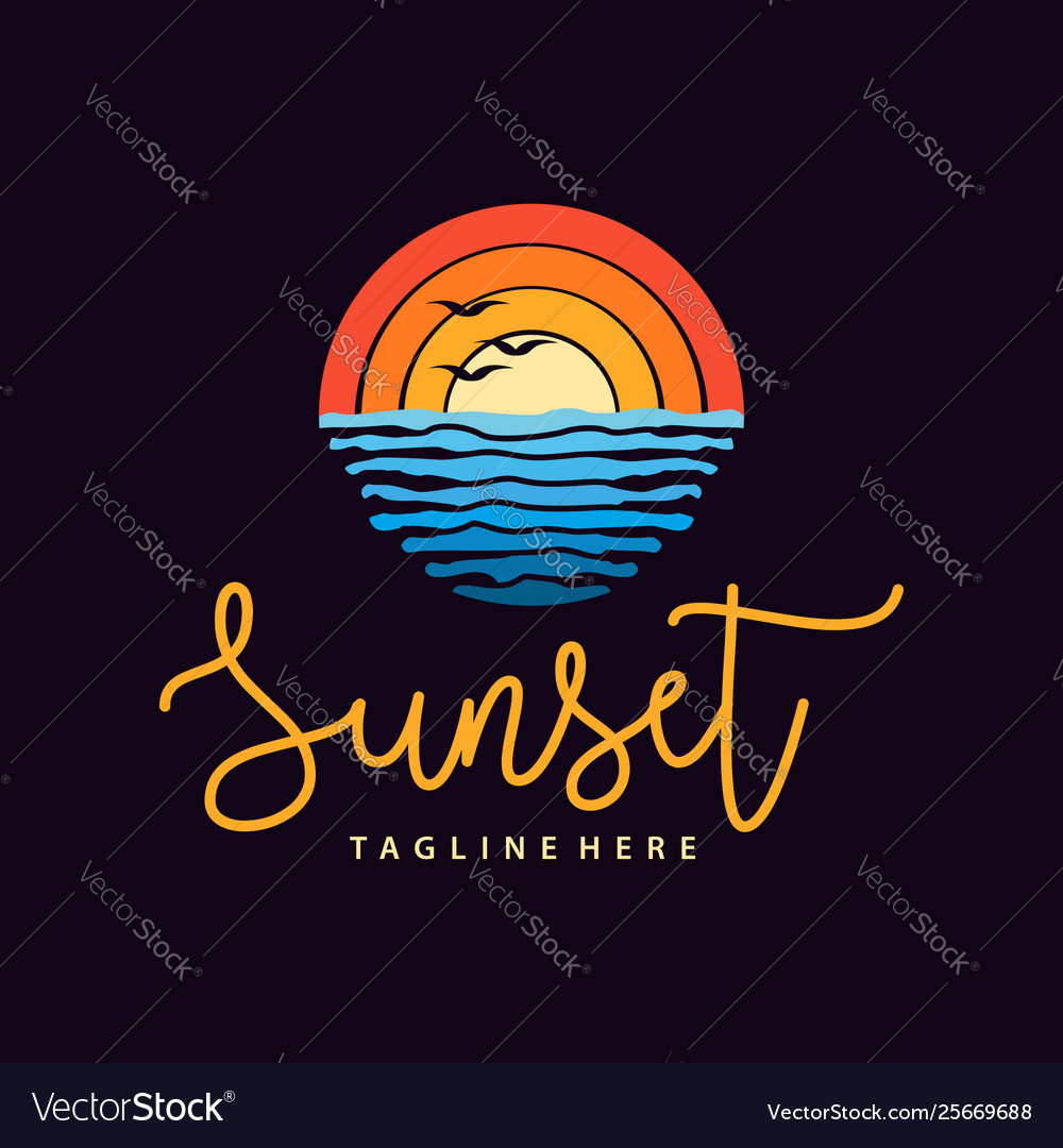 Summer sunset beach sea logo and icon design