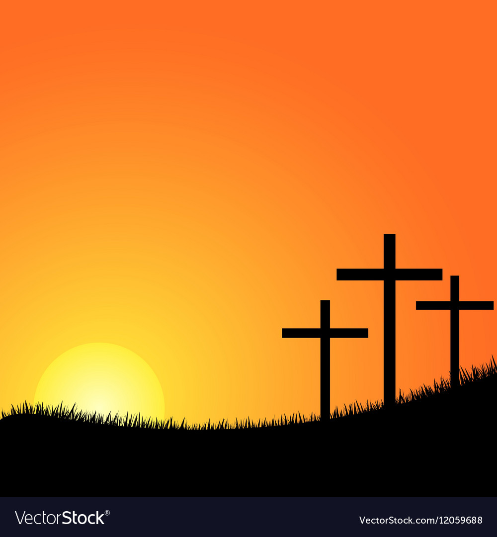 Three crosses on a hill vector image
