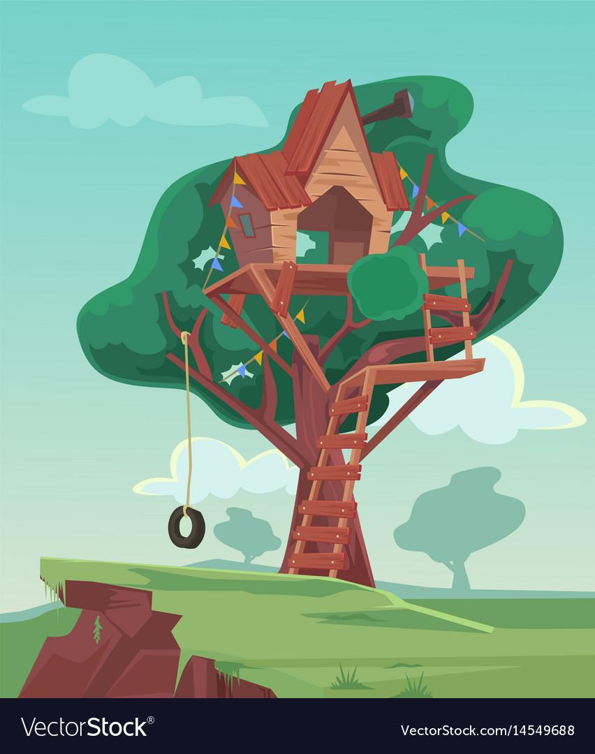 Tree house flat cartoon