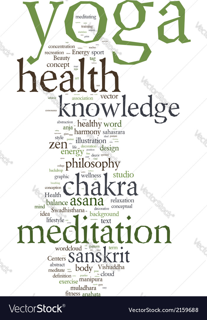 yoga word collage on white background royalty free vector