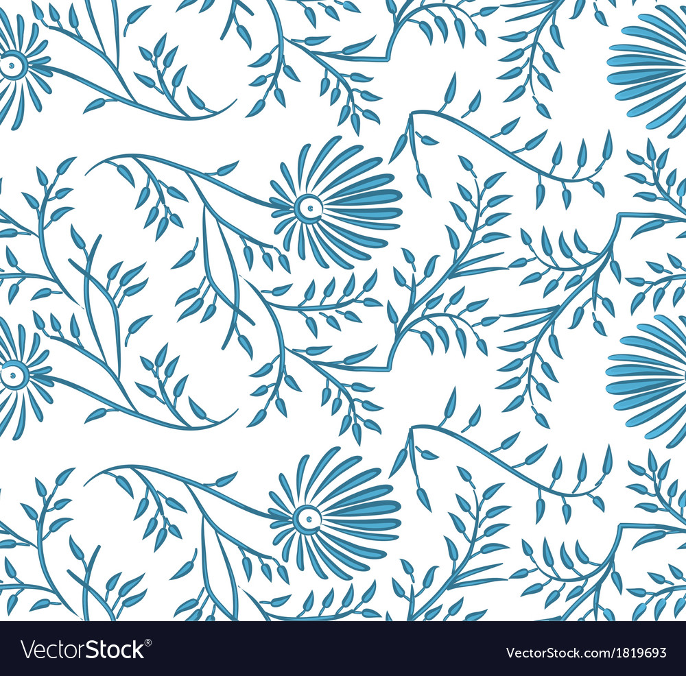 Blue and white seamless floral background