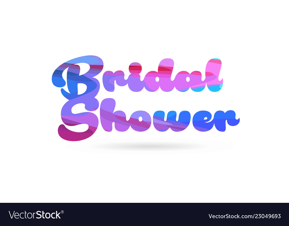 bridal shower pink blue color word text logo icon vector image
