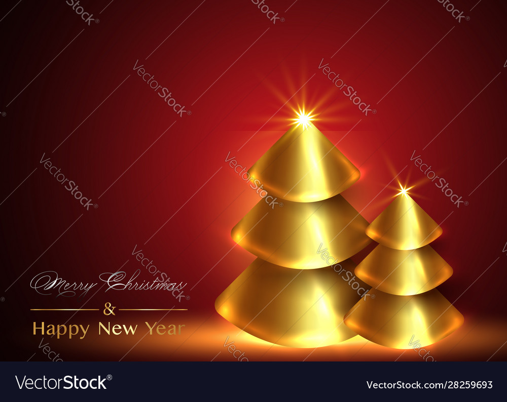Christmas and new year background gold xmas pine