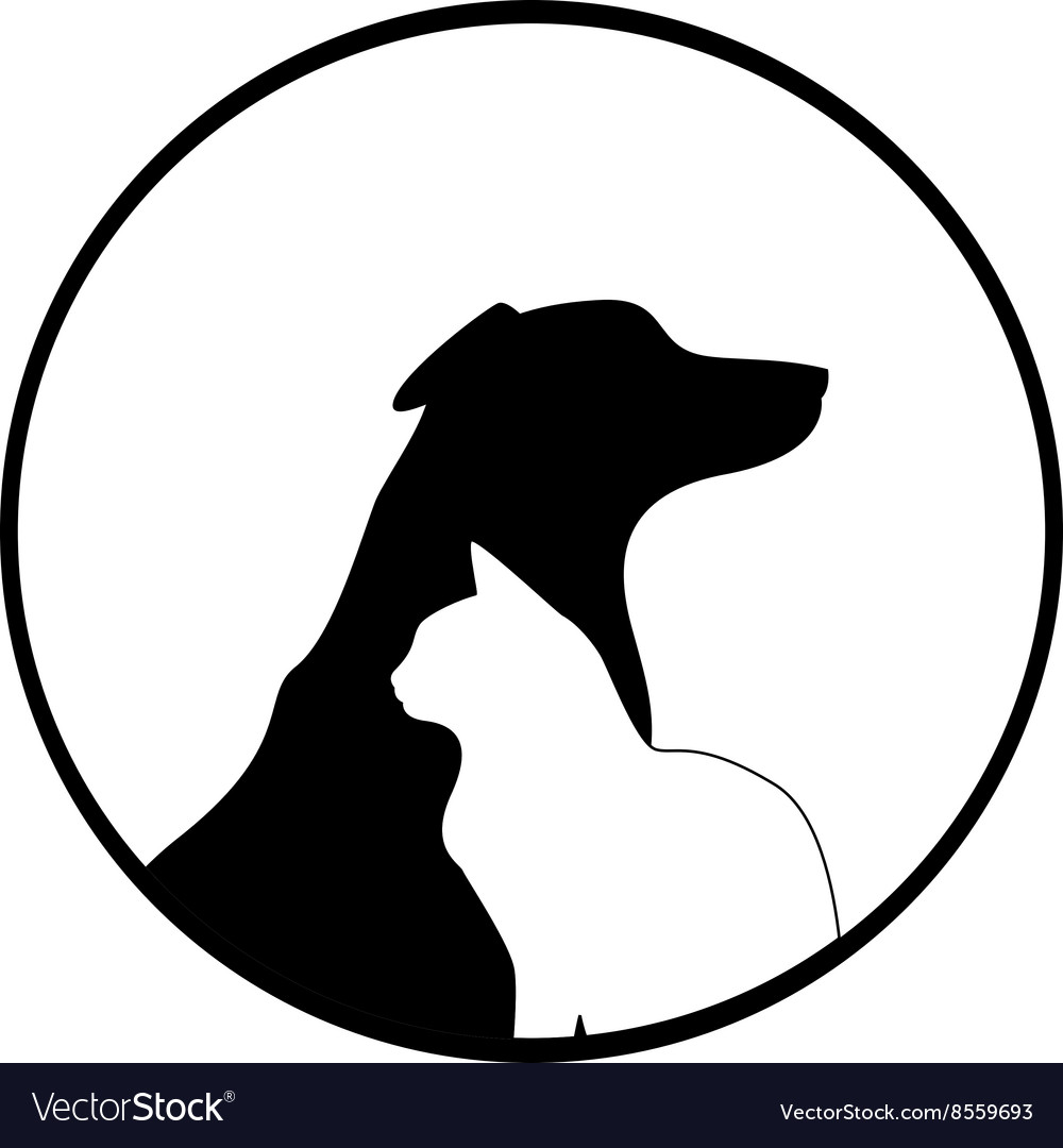 Composition Of Dog And Cat Silhouettes Royalty Free Vector