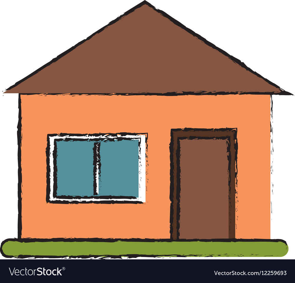 Drawing house suburban architecture green grass