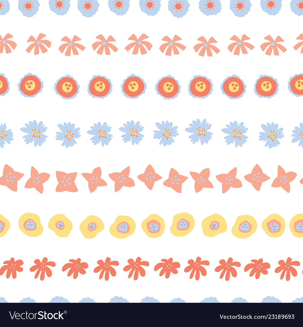 Flower rows doodle seamless background