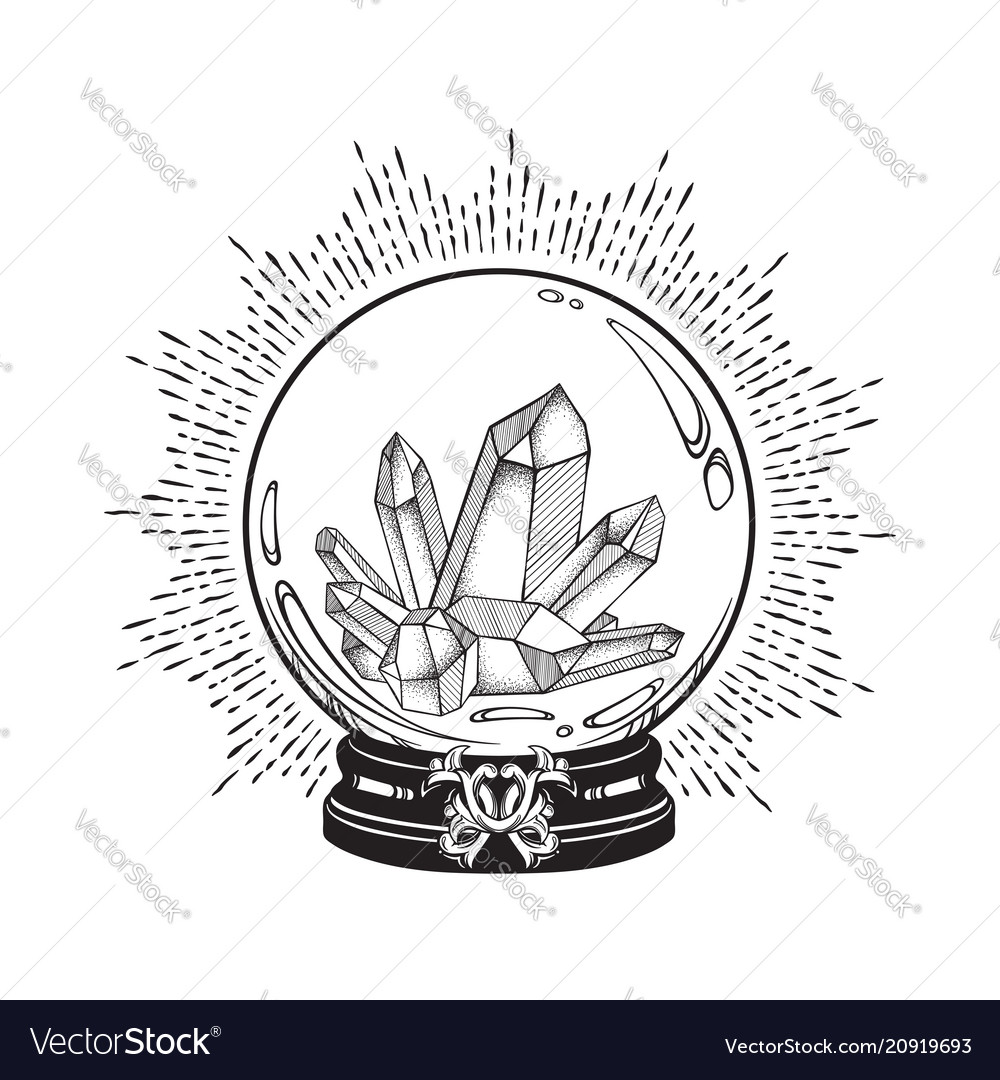 Hand drawn magic crystal ball with gems line art