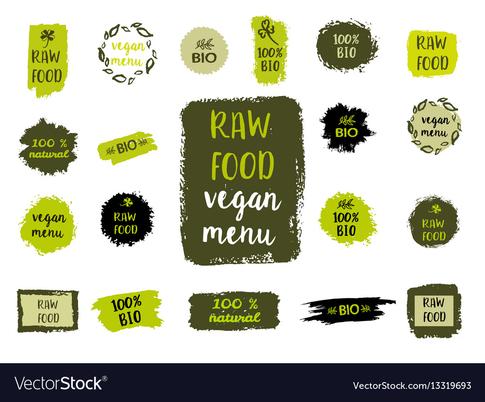 Healthy food labels hand drawn logo templates