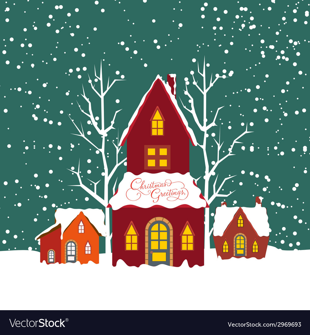 Merry christmas background with christmas house vector image