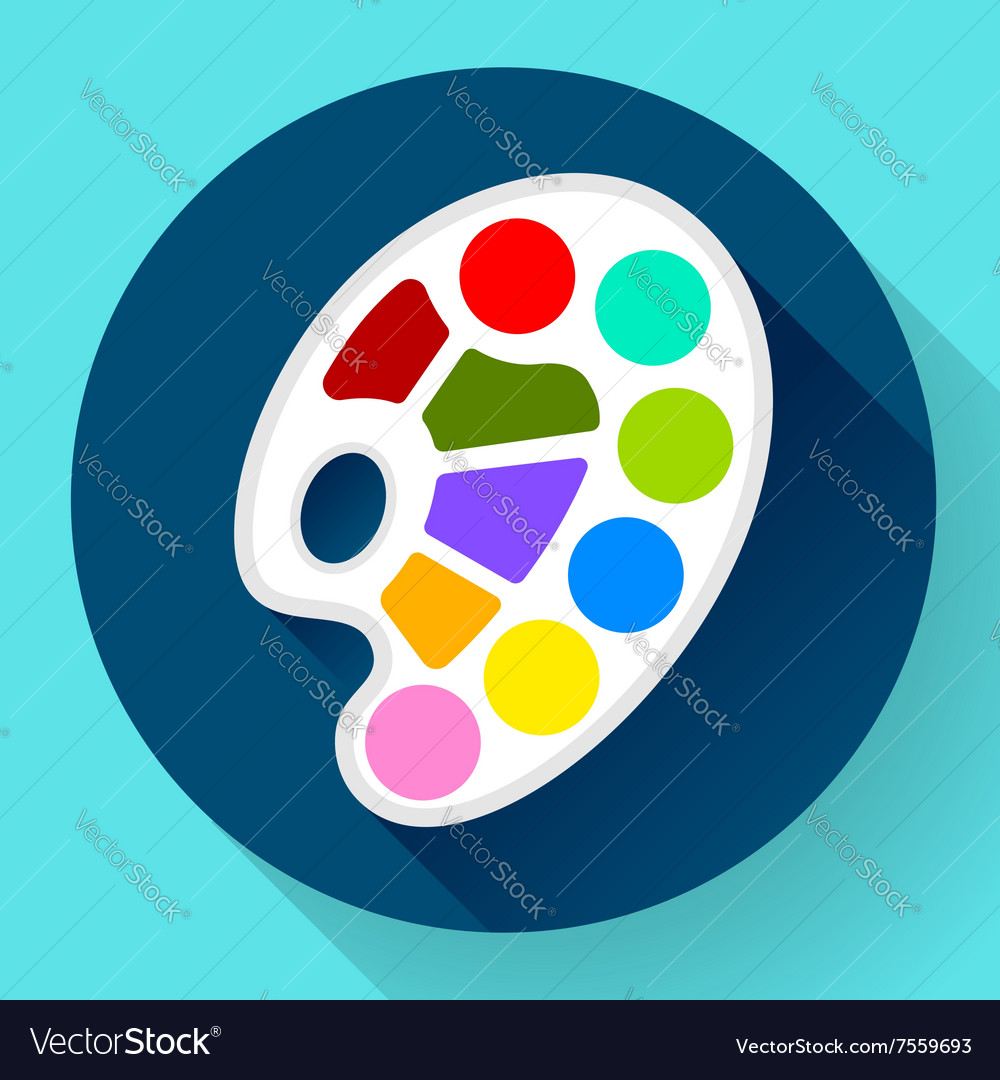 Palette icon with long shadow Flat design style