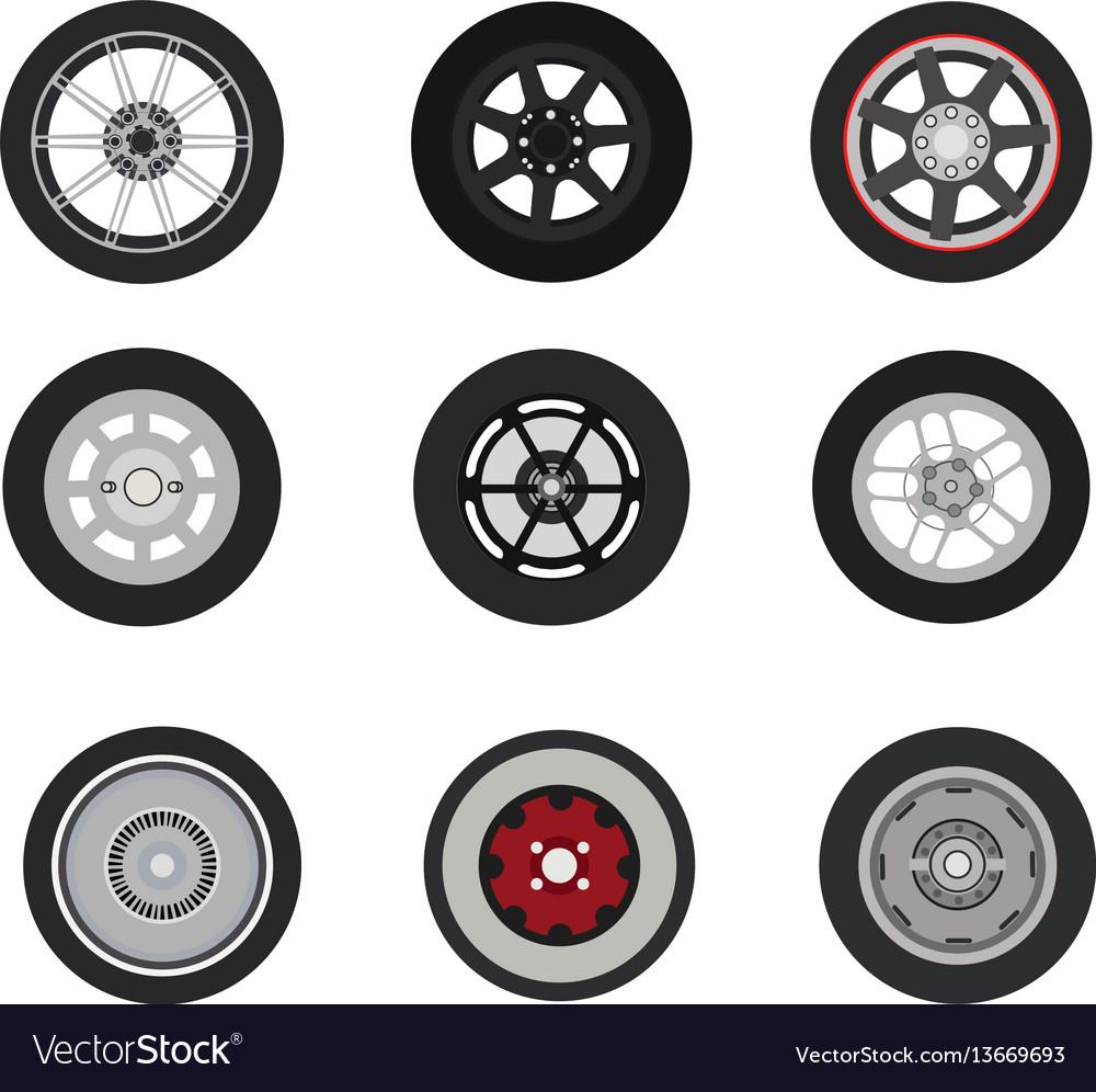 Retro cars classic and sport cars wheel set