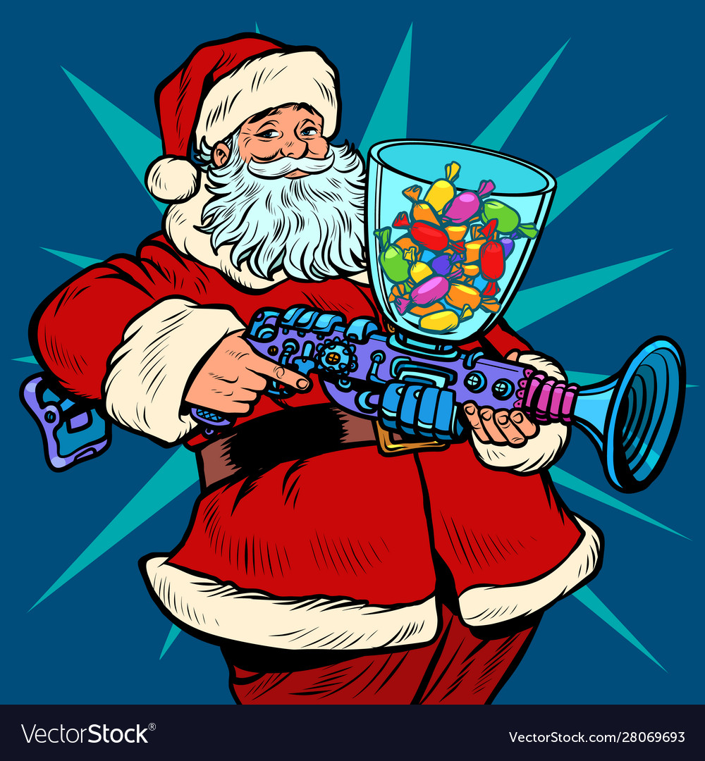 Santa claus candy machine christmas and new year vector