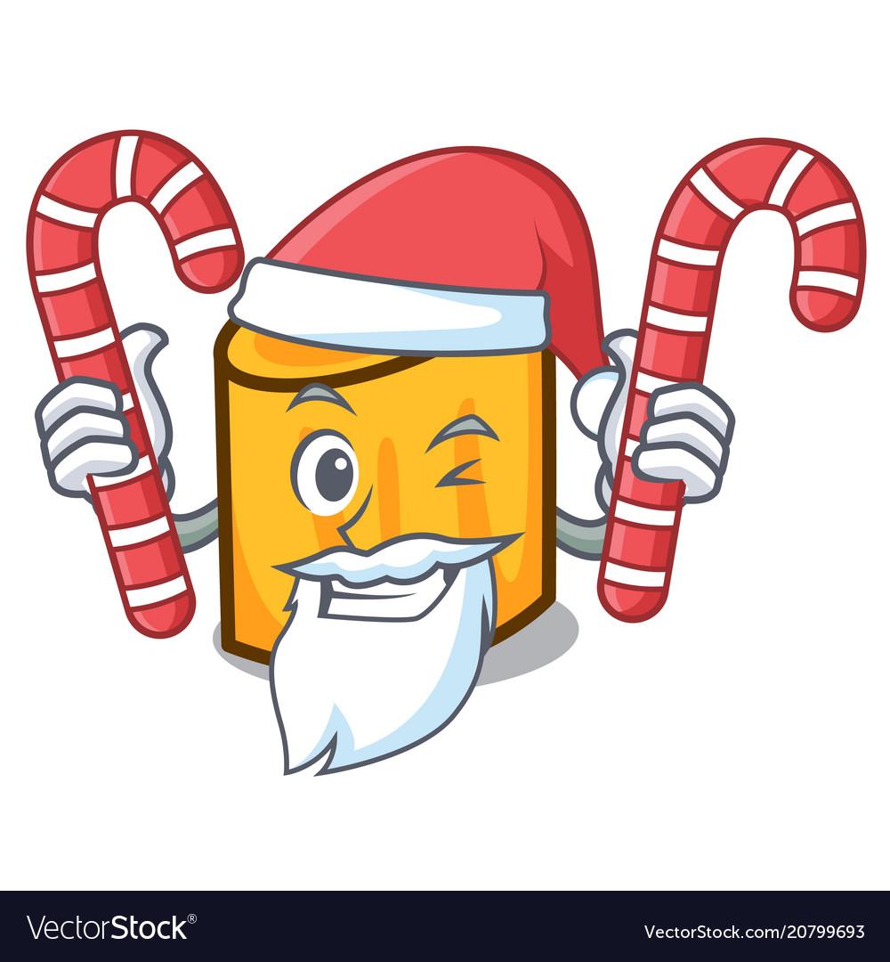 Santa with candy rigatoni mascot cartoon style