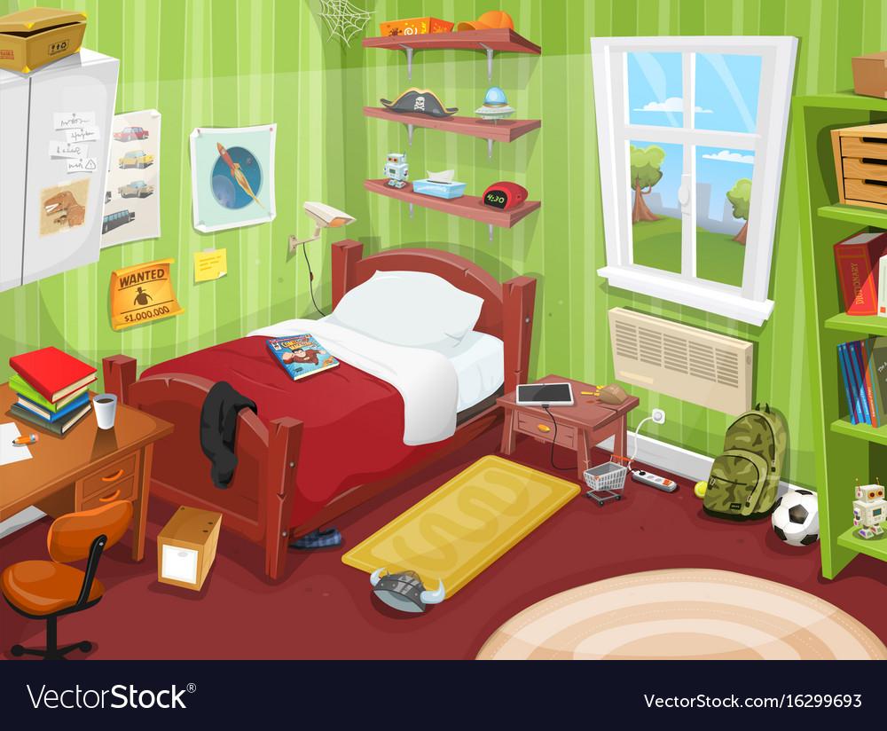 Some Kid Or Teenager Bedroom Vector Image