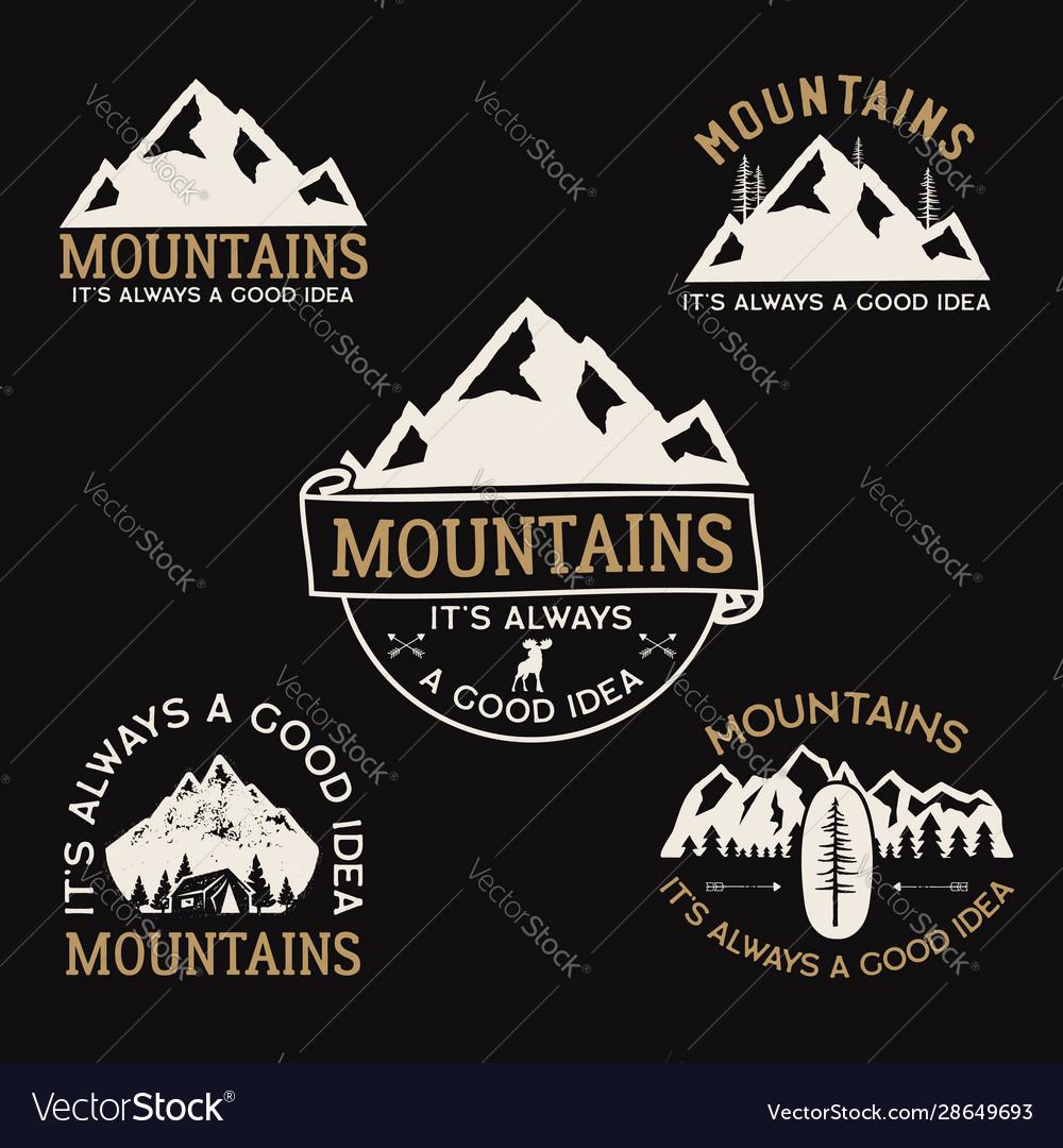 Vintage camp logos mountain badges set hand