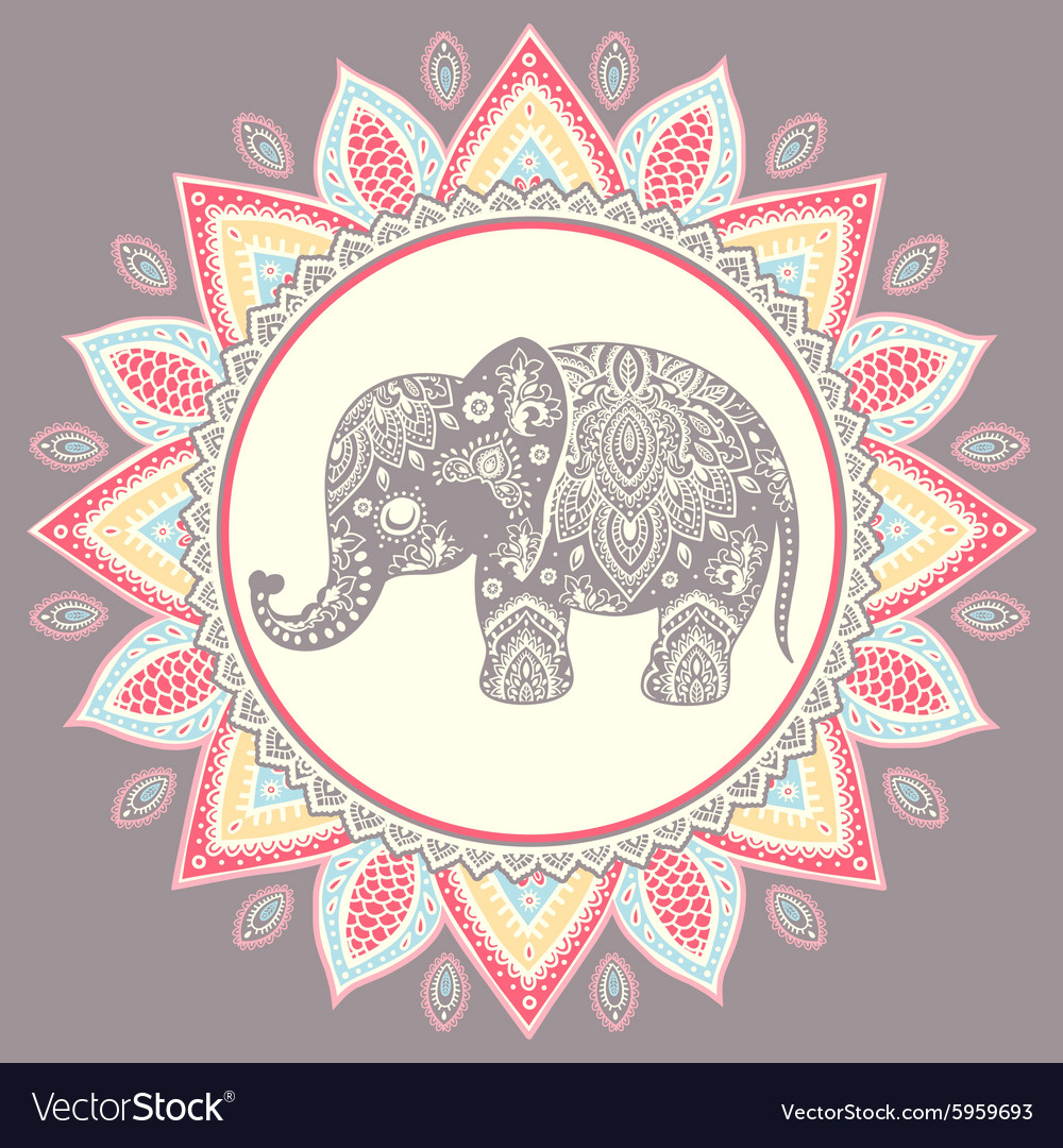 Vintage indian elephant with tribal ornaments