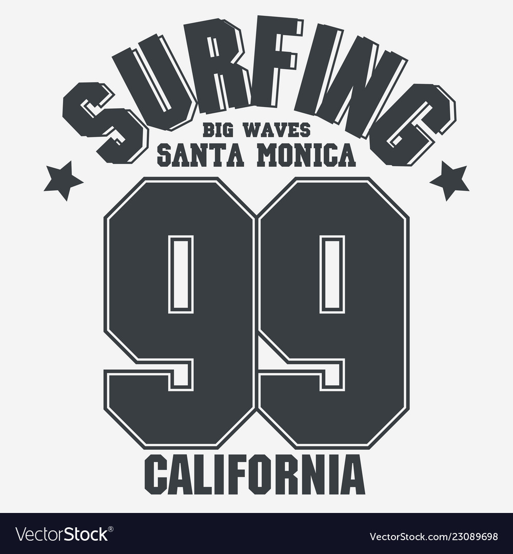 California sport wear t-shirt typography design