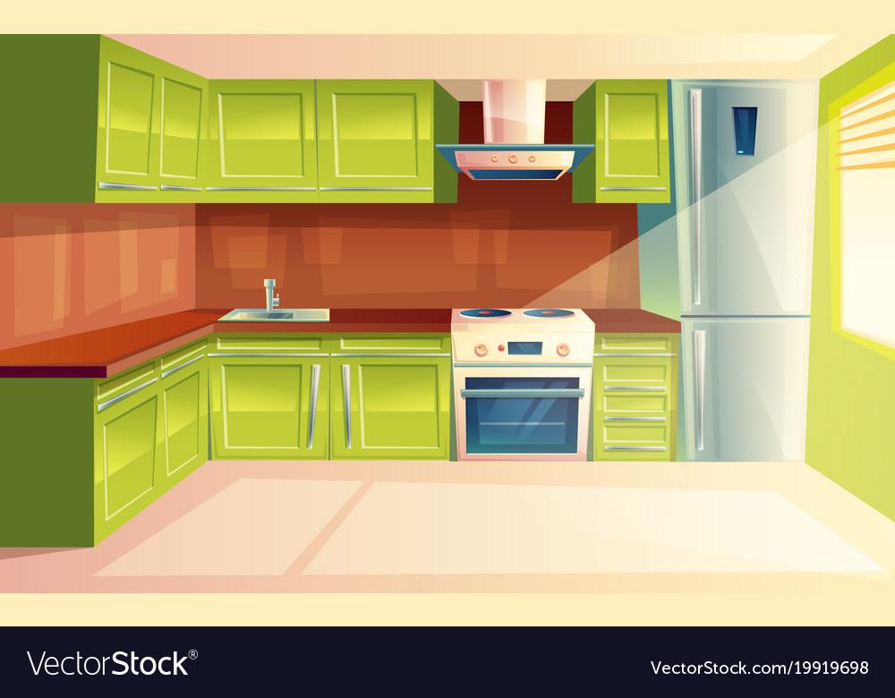 Cartoon Modern Kitchen Interior Background Vector Image