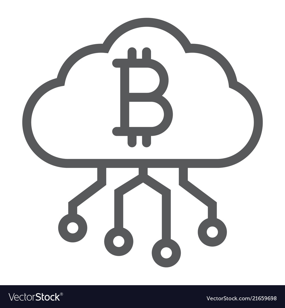 Cloud mining line icon finance and money