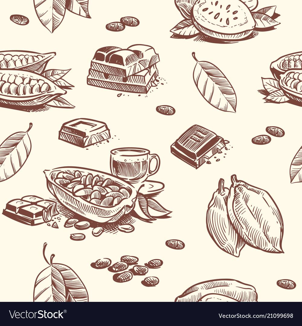 Cocoa tree chocolate beans seamless pattern