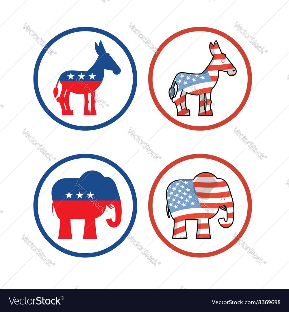 Democratic Donkey And Republican Elephant Symbols Vector Image