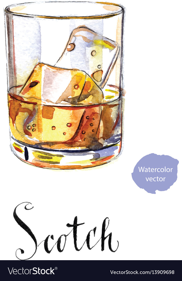 Glass Scotch Whiskey Brandy With Ice, Glass Ice Cubes Vector