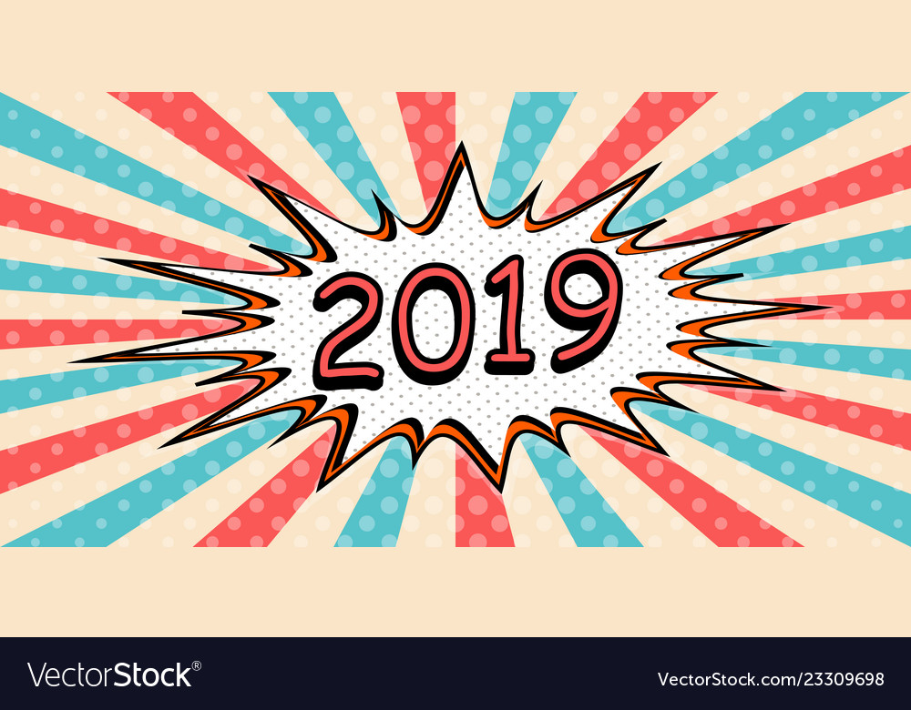 Happy new year banner 2019 pop art comic speech