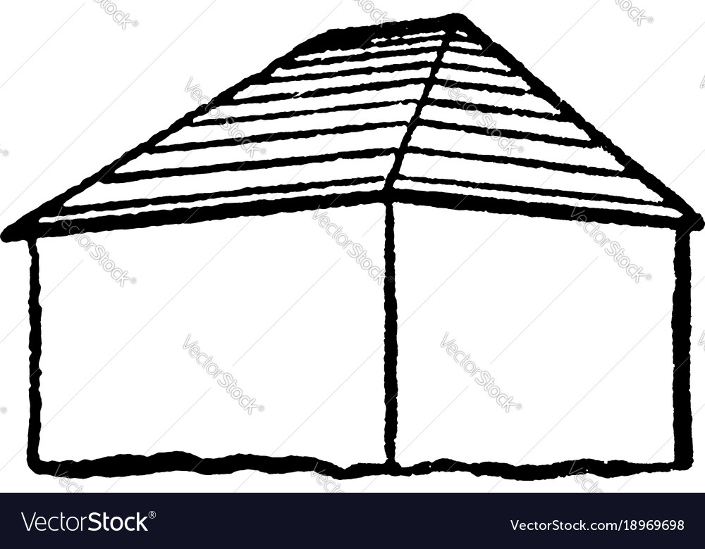 Hip style roof type two trapezoidal ones vintage